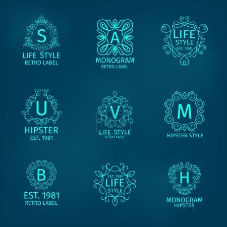 Illustration pour Hipster style de vie rétro monogramme classique calligraphique ensemble isolé vectoriel illustration - image libre de droit