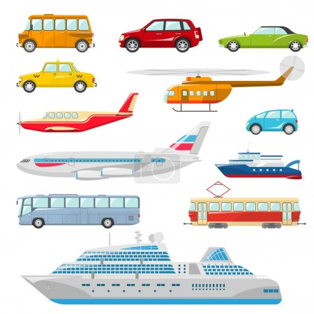 Illustration for Transport icons flat set with taxi bus helicopter tram ship isolated vector illustration - Royalty Free Image