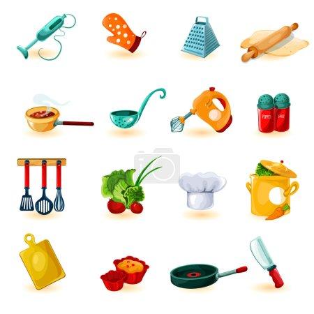 Illustration pour Ustensiles de cuisine icônes décoratives serties d'un bol à couteau mélangeur illustration vectorielle isolée - image libre de droit