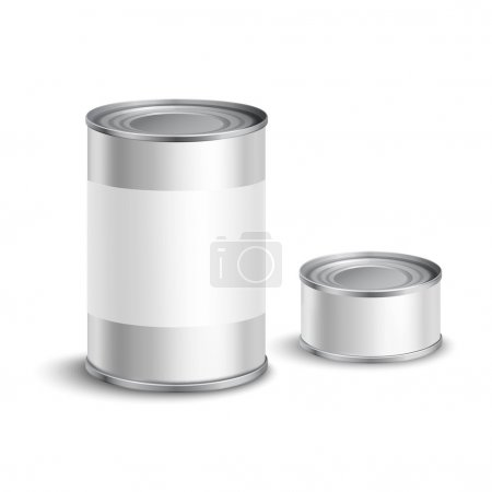 Illustration for Metallic tin can set with blank white labels for food conservation isolated vector illustration - Royalty Free Image
