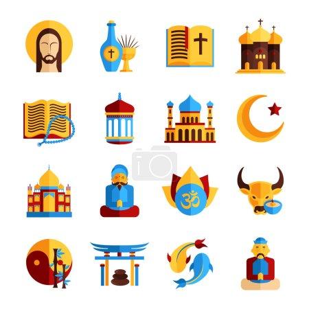 Photo pour Icône religieuse sertie de symboles chrétiens islamiques et orientaux illustration vectorielle isolée - image libre de droit