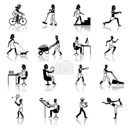 Illustration pour Icônes d'activités physiques noir ensemble avec des silhouettes de personnes travail nettoyage vélo marche isolé vecteur illustration - image libre de droit