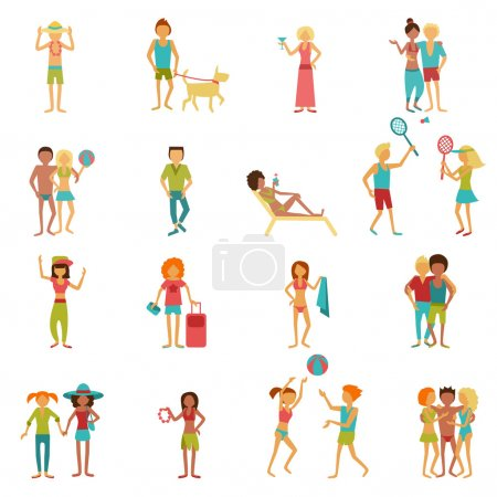 Illustration for People on vacation beach party summer holidays set isolated vector illustration - Royalty Free Image