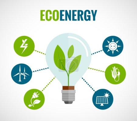Illustration pour Eco solution d'énergie plat icônes rondes affiche de composition avec moulins à vent et panneaux solaires symboles illustration vectorielle abstraite - image libre de droit