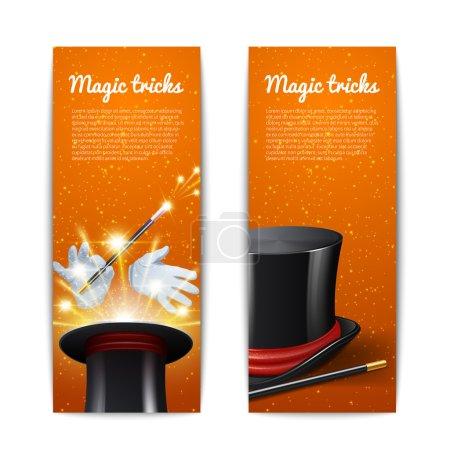 Illustration pour Tour de magie bannières verticales serties de bâton de cylindre magicien et gants illustration vectorielle isolée - image libre de droit