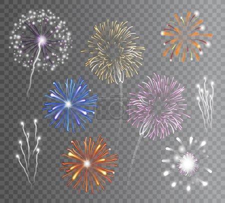 Illustration pour Feu d'artifice multicolore carnaval réaliste explose sur fond transparent illustration vectorielle isolée - image libre de droit