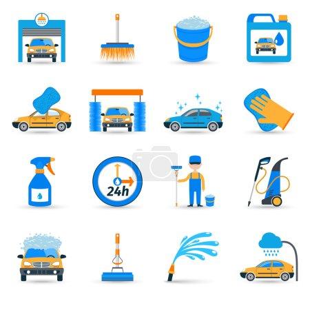 Illustration pour Installations de lavage automatique libre-service innovant équipement de brosse moussante icônes plates ensemble illustration isolée vecteur abstrait - image libre de droit