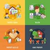 Real estate design concept set with family property search flat icons isolated vector illustration