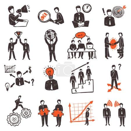 Illustration pour Ensemble d'icônes de réunion avec personnages d'affaires dessinés à la main illustration vectorielle isolée - image libre de droit
