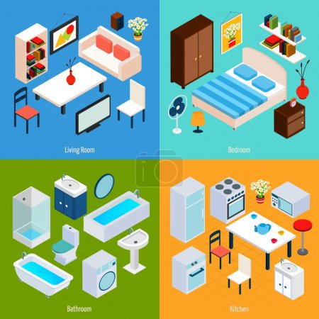 Illustration for Isometric interior design concept set with living room bedroom bathroom and kitchen 3d icons isolated vector illustration - Royalty Free Image