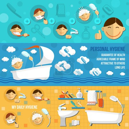 Illustration pour Ensemble horizontal de bannière d'hygiène personnelle avec des articles cosmétiques de beauté illustration vectorielle isolée - image libre de droit