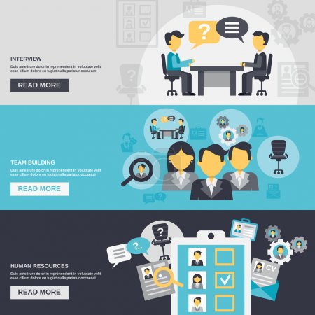 Illustration for Human resources horizontal banner set with interview team building elements isolated vector illustration - Royalty Free Image