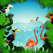 Tropical forest background with exotic plants and wild birds vector illustration