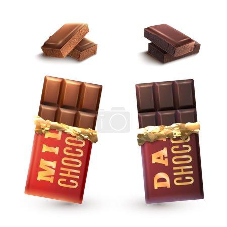 Illustration pour Tablettes de lait et chocolat noir ensemble et pièces isolées illustration vectorielle - image libre de droit