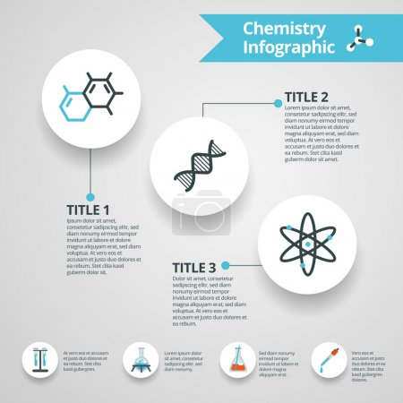 Illustration for Chemistry infographics set with science and research paper symbols vector illustration - Royalty Free Image