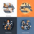 Business conveyor design concept set with idea mon...