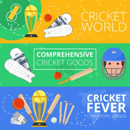 Cricket horizontal banners flat