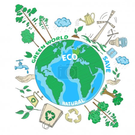 Illustration for Doodle green world ecology colored concept with globe and eco decorative icons set vector illustration - Royalty Free Image