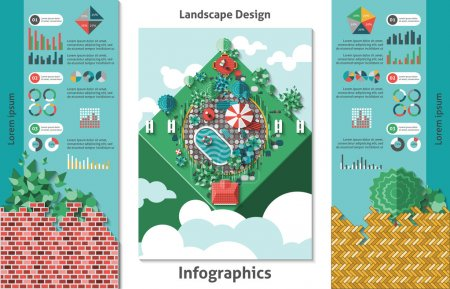 Illustration for Landscape design infographics set with charts and outdoor architecture symbols vector illustration - Royalty Free Image