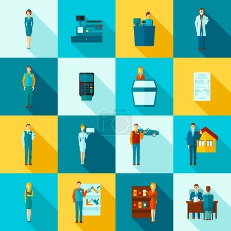 Illustration pour Salesman boutique assistant chiffres plat longue ombre icônes ensemble isolé vecteur illustration - image libre de droit