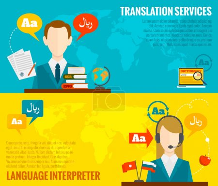 Translation and dictionary banners set flat