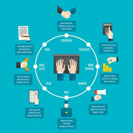 Illustration pour Infographie de mains d'affaires avec l'illustration de vecteur de symboles de processus de travail - image libre de droit