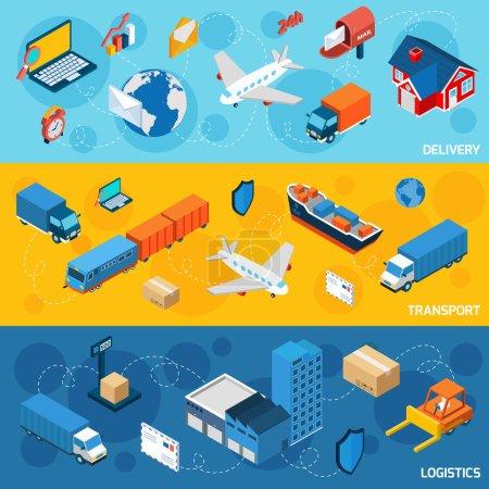 Illustration pour Ensemble horizontal bannière logistique avec éléments isométriques de livraison et de transport illustration vectorielle isolée - image libre de droit