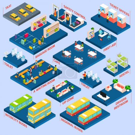 Illustration for Bus station concept with isometric waiting baggage room toilets and cafe icons vector illustration - Royalty Free Image