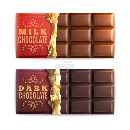 Illustration pour Barres de lait et chocolat noir à moitié recouvertes d'une illustration vectorielle isolée en feuille - image libre de droit