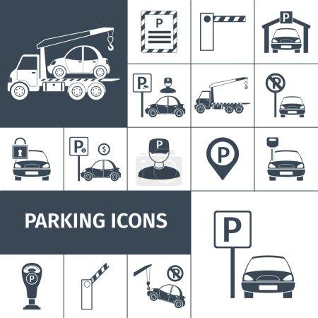 Illustration pour Equipements du parking icônes décoratives noires ensemble illustration vectorielle isolée - image libre de droit