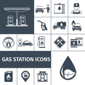 Gas station icons black set with petrol station fuel tank isolated vector illustration