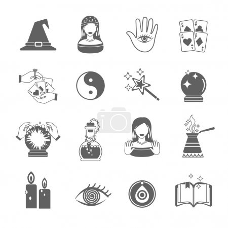 Illustration for Fortune and future teller black icon set with magic symbols isolated vector illustration - Royalty Free Image