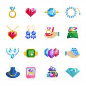 Precious Jewels Icons Flat