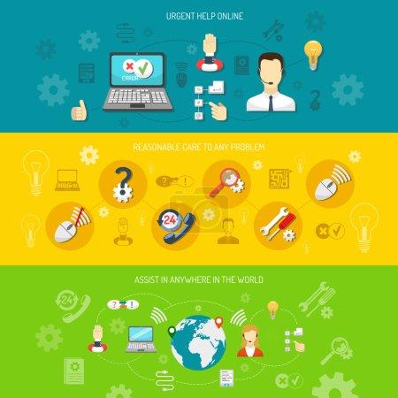 Illustration pour Conception support bannière horizontale pour ordinateur 24h / 24 support à distance consultation non-stop et recherche solution optimale illustration vectorielle isolée - image libre de droit