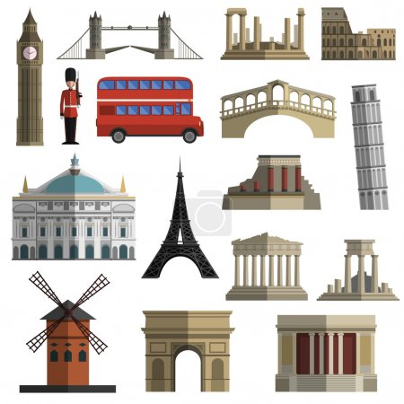 Travel landmark flat icons set