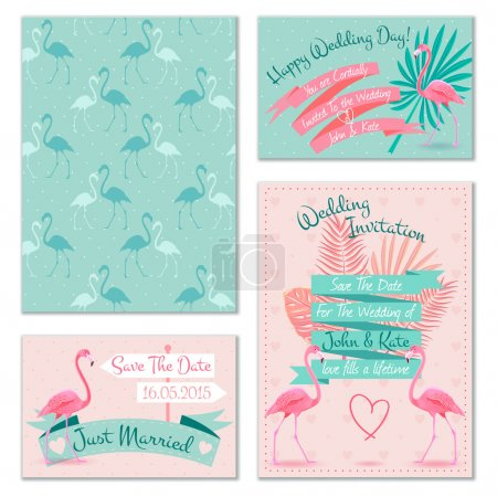 Flamingo wedding invitation cards