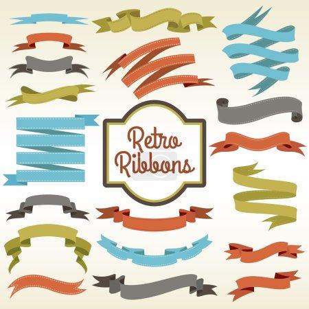 Illustration pour Rubans rétro garnitures découpes bouclés morceaux arrangement composition notions magasin nostalgique affiche publicité impression abstrait vecteur illustration - image libre de droit