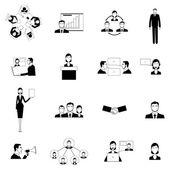 Pracovní setkání ploché ikony nastavit
