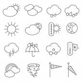 Weather forecast icons outlined pictograms set with rain drops and umbrella symbols black abstract isolated vector illustration