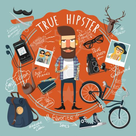 Illustration pour Concept hipster en forme de sceau icône avec petite amie photo et chaussures préférées imprimer illustration vectorielle plat abstrait - image libre de droit