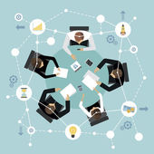 Business management meeting and brainstorming concept with people on the round table in top view vector illustration