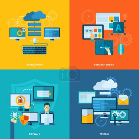 Illustration for Program development design concept set with firewall and testing flat icons isolated vector illustration - Royalty Free Image