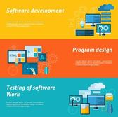 Program development horizontal banner set with software testing flat elements isolated vector illustration