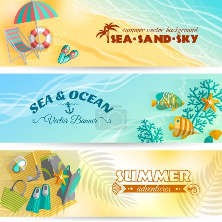 Illustration for Sea beach summer holiday adventures horizontal banners set with swimming and diving accessories abstract isolated vector illustration - Royalty Free Image
