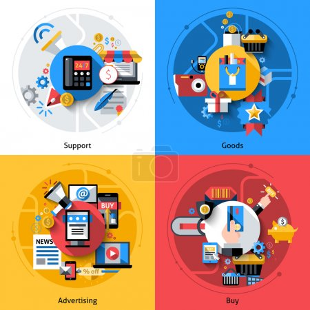 Illustration for E-commerce design concept set with support goods advertising buy flat icons isolated vector illustration - Royalty Free Image
