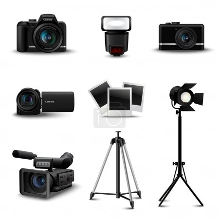 Illustration for Realistic camera icons and photo equipment set isolated vector illustration - Royalty Free Image