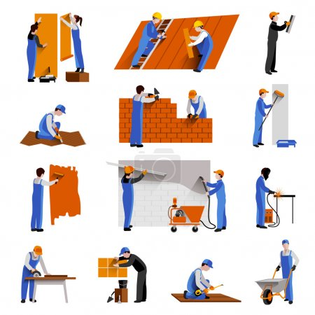 Illustration for Workers builder engineers and technician icons set isolated vector illustration - Royalty Free Image