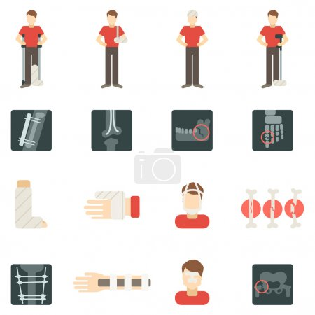 Fracture Bone Flat Icons Set