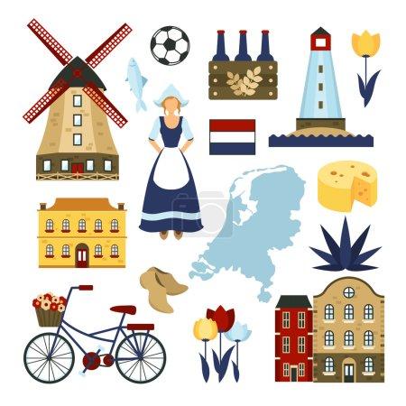 Illustration pour Symboles néerlandais sertis de moulins à vent illustration vectorielle isolée - image libre de droit