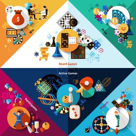 Illustration pour Jeux de table de hasard et coins sportifs actifs mis en illustration vectorielle isolée - image libre de droit